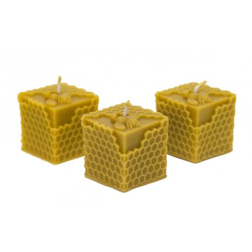 Świeca kostka z pszczołą